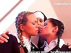 Three Schoolgirls And A Nun playing pussy
