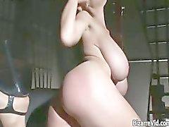 Sexy zwart lederen hete lichaam Babe hebben part6