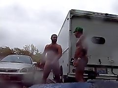 Guys Very Public Rainy Stroking in parking lot