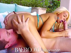 BAEB Pink pussy fucked by the pool with blonde Elsa Jean