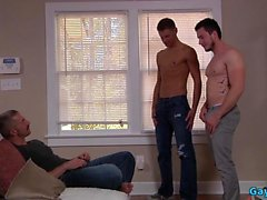 Muscle daddy threesome and cumshot