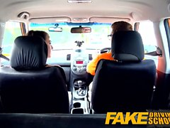 Fake Driving School Cum täckt fitta efter gamer minx
