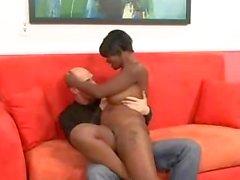 Busty Ebony Pornstar fucked by long white dick