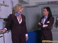Air hostesses foursome fucking on flight