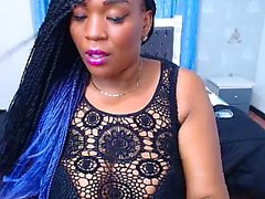 Hot Ebenholz mit großen Titten auf Webcam