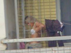 Spycams Fångat Voyeur Särskilda funktioner Balcony Topless flicka