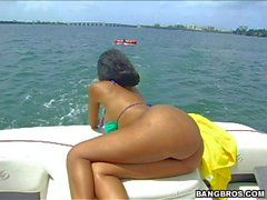 in a boat with bubble butt back chick