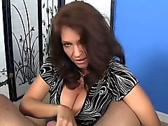 CFNM bigtitted milf tugging oiled cock pov