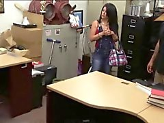 Busty Latin bitch sells her TV and fucked in the pawnshop