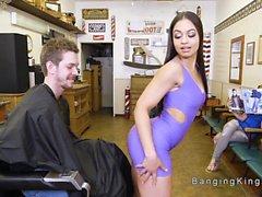 Ebony bangs cabeleireiro gajos grande galo