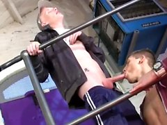 Two guys jerk their cocks