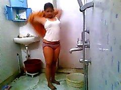 La India Colegio Chica En la Hostal duchas
