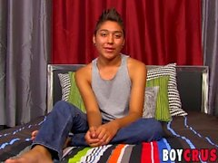 Latino twink Brycen Russell interviewed jerking and cumshot