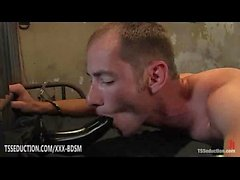 Ebony tranny Natassia Dream gets anal fucking on bondage man