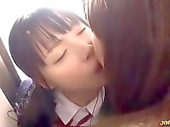 Asian Schoolgirl Kissed Getting Her Pussy Fingered By 2 Older Girls On The