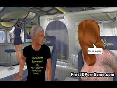 Сексуальная 3D лисица соблазнение рогового шпильку на самолете
