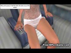 Sexy del Volpe femmina 3D di seducente una borchia corneo su un aereo