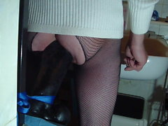 jerking off impaled on a massive dildo