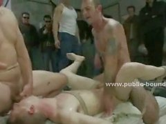 Teen tender ass takes his first gay group sex test pleasing gang of men with rough blowjobs