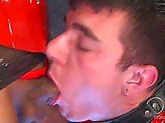 Sexy Dominatrix Torments Hard Cocked Slaveboy