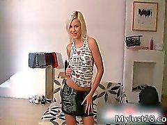 Nasty blonde hoe Kristi gets naked