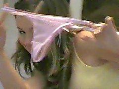 Emily 18 playing in green panties