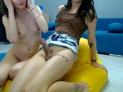TS Vica shoots her 2nd load after pumping her cock furiously