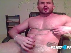 Cam Stud Dennix Shoots a Big Load Tugging on His Nipple Clamps