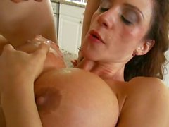 Ariella Ferrera gets her tits creamed after rough round