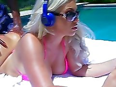 A hot interracial outdoor fuck by the pool with As