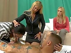Cfnm babe rides a tattoo covered dude
