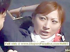Chihiro Hara Naughty Asian moidel ist ins Gefängnis gefesselt und bekommt Sex dem Zug