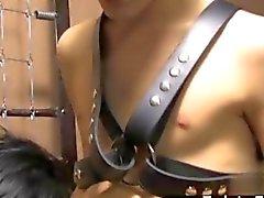 Leder Bindungs Twink Im face fickt seinen Slave