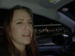 Kinky slut blows an Uber driver in POV interracial porn