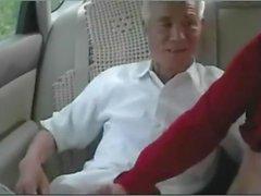 Velho, chinês, foda, maduro, mulher