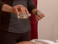 TS gives woman a nice massage and fucked