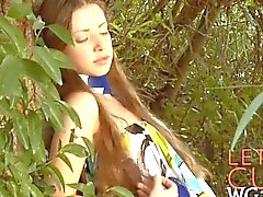 Slim tits teen masturbates in the woods