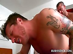 Naked stud gets his butt gay fucked by lusty masseur