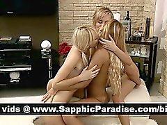Freches blondes Lesben Finger und leckte Pussy in einem Dreiwege lesbische Orgasmus