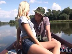 Horny wench gets banged on a boat