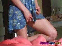 Teen Vika rubs her pussy in this upskirt view of her masturbating
