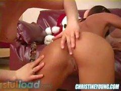 Lezzies Christmas Orgie mit Melisse Puppe Christine Young sowie Kirsche zierliches 1.