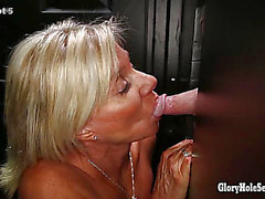 Gloryhole Secrets Aged golden-haired shows off her years of