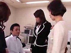 Three insatiable Oriental secretaries share a hard cock in