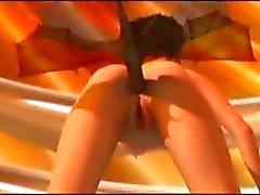 3D geanimeerde brunette met grote tieten speelt met speelgoed en neuken machine