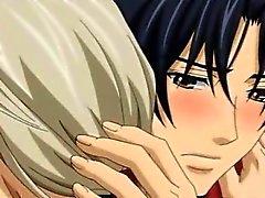 De dos hentai homosexuales besándose y tener amor en la cama