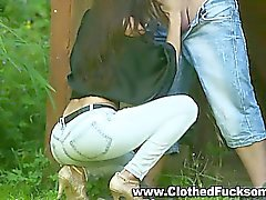 Clothed Sex outdoors Jeans