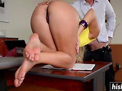 Blanche Bradbury drills a guy in an office
