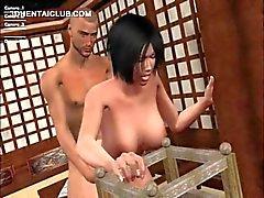 Trigueno de la muchacha vista de Hentai follando eje cargar