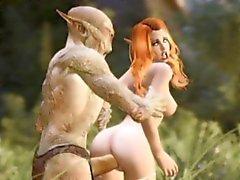 3D Babes Ruiniert indem gruselige Monster!